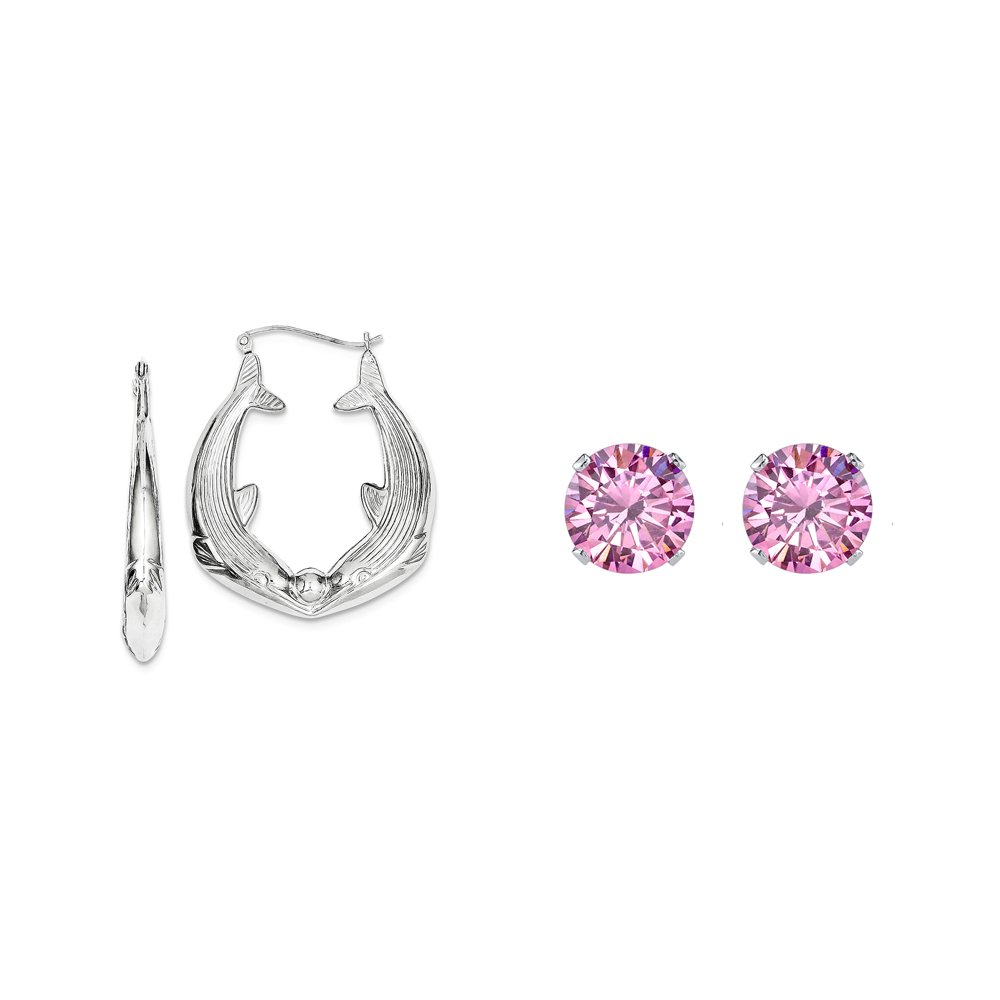Sterling Silver Dolphin Hoop Earrings and a pair of Pink 4mm CZ Stud Earrings