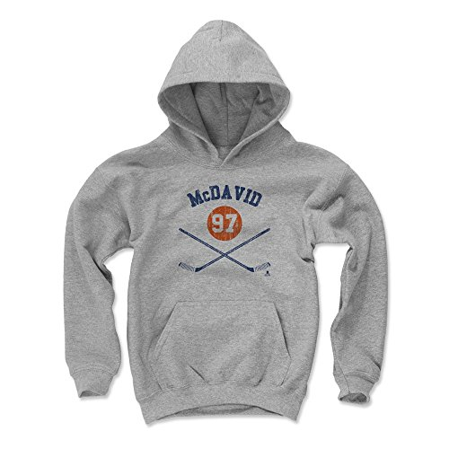 500 LEVEL Edmonton Hockey Youth Hoodie - Kids Large Gray - Connor McDavid Sticks B