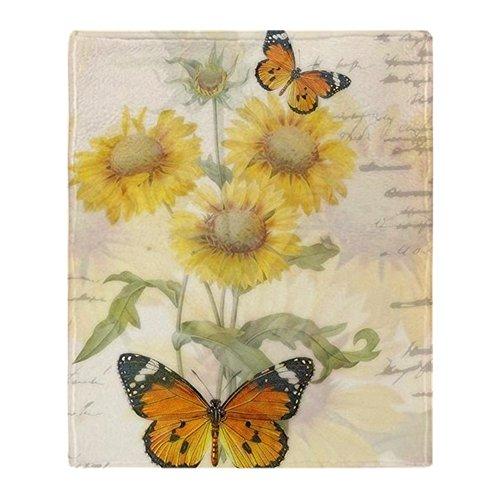 CafePress Sunflowers and Butterflies Soft Fleece Throw Blank