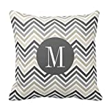 Best Pillow Cover Fashion Home Decorative Cotton Polyester Pillowcase 16 * 16 Inches Gray Linen Beige Chevron Pattern With Monogram Pillows Case