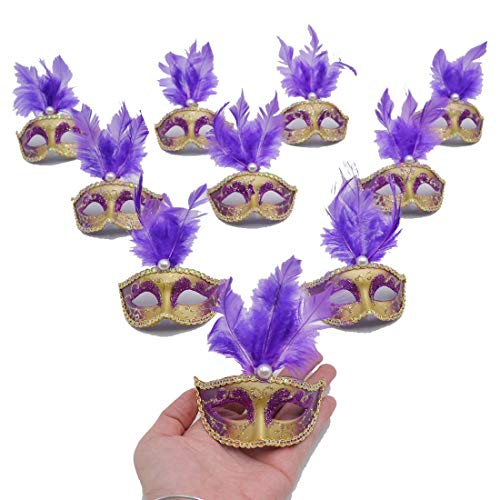 Yiseng Small Masquerade Mask Party Decoration 12pcs Mini Mardi Gras Mask Halloween Costume Novelty Gifts Purple Color