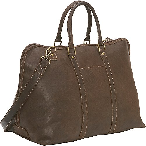 Le Donne Leather Distressed Leather Getaway Duffel - Choc Leather