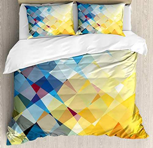 Ambesonne Yellow and Blue Duvet Cover Set Queen Size, Ombre Pattern in Factal Squares Broken Mosaic Form Modern Artistic, Decorative 3 Piece Bedding Set with 2 Pillow Shams, Orange Yellow]()