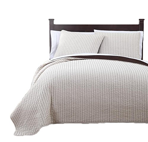 Royal Tradition Project Runway Microfiber Queen Size 3PC Reversible Coverlet Set, Ivory with ()