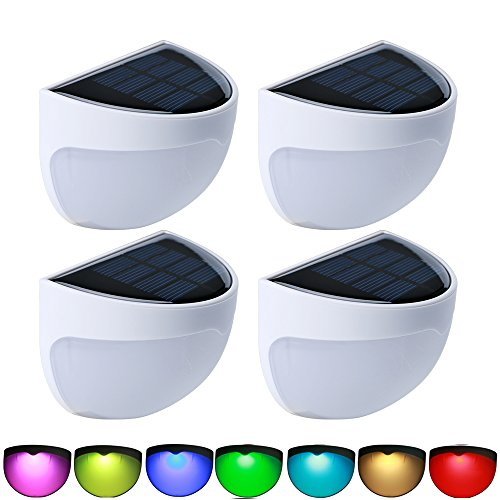 RGB Solar Lights, Aerlemai Outdoor Wall Mounted Colorful Light, Waterproof Security Auto ON/OFF Decoration Step Lamps for Garden, Stair, Corridor, Deck, Fence, Pathway, Balcony (Multicolor) 4 Packs by Aerlemai