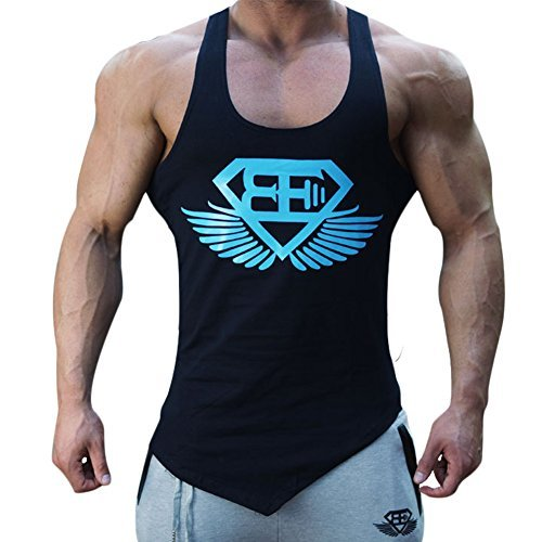 Men Muscle Fitness Gym Stringer Tank Tops Bodybuilding Workout Sleeveless Shirts (Black Blue, US LARGE(Tag - Mens Pics Black