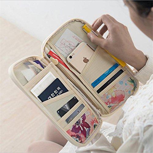Haotfire Multifunctional Travel Wallet Passport Wallet with Hand Strap, Passport Holder Travel Organizer