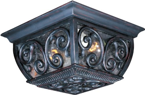 Maxim 40129CDOB Newbury 2-Light Outdoor Ceiling Mount, Oriental Bronze Finish, Seedy Glass, MB Incandescent Incandescent Bulb , 60W Max., Dry Safety Rating, Standard Dimmable, Glass Shade Material, Rated Lumens - Newbury Newbury Outdoor Fixture