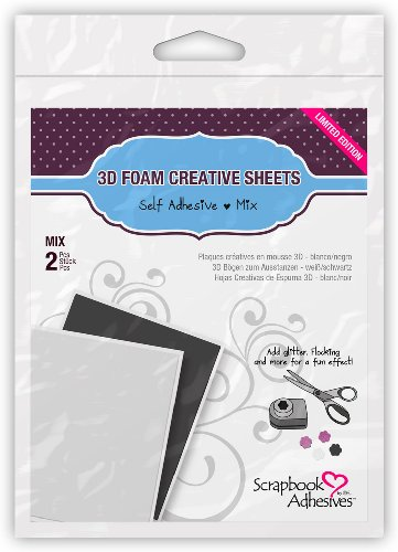 3L Corporation Self-Adhesive Scrabbook Foam Embellishment Sheets, Blank (3d Dots White Adhesive Foam)