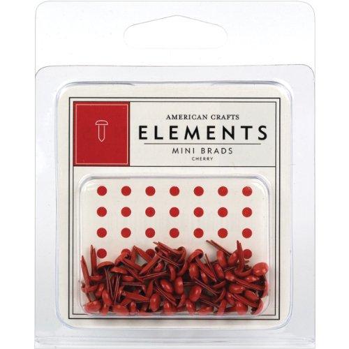American Crafts Elements Mini Brads, Cherry
