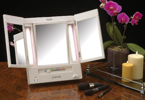 Amazon com  Jerdon Tri Fold Two Sided Lighted Makeup Mirror with 5x Magnification White Finish Beauty