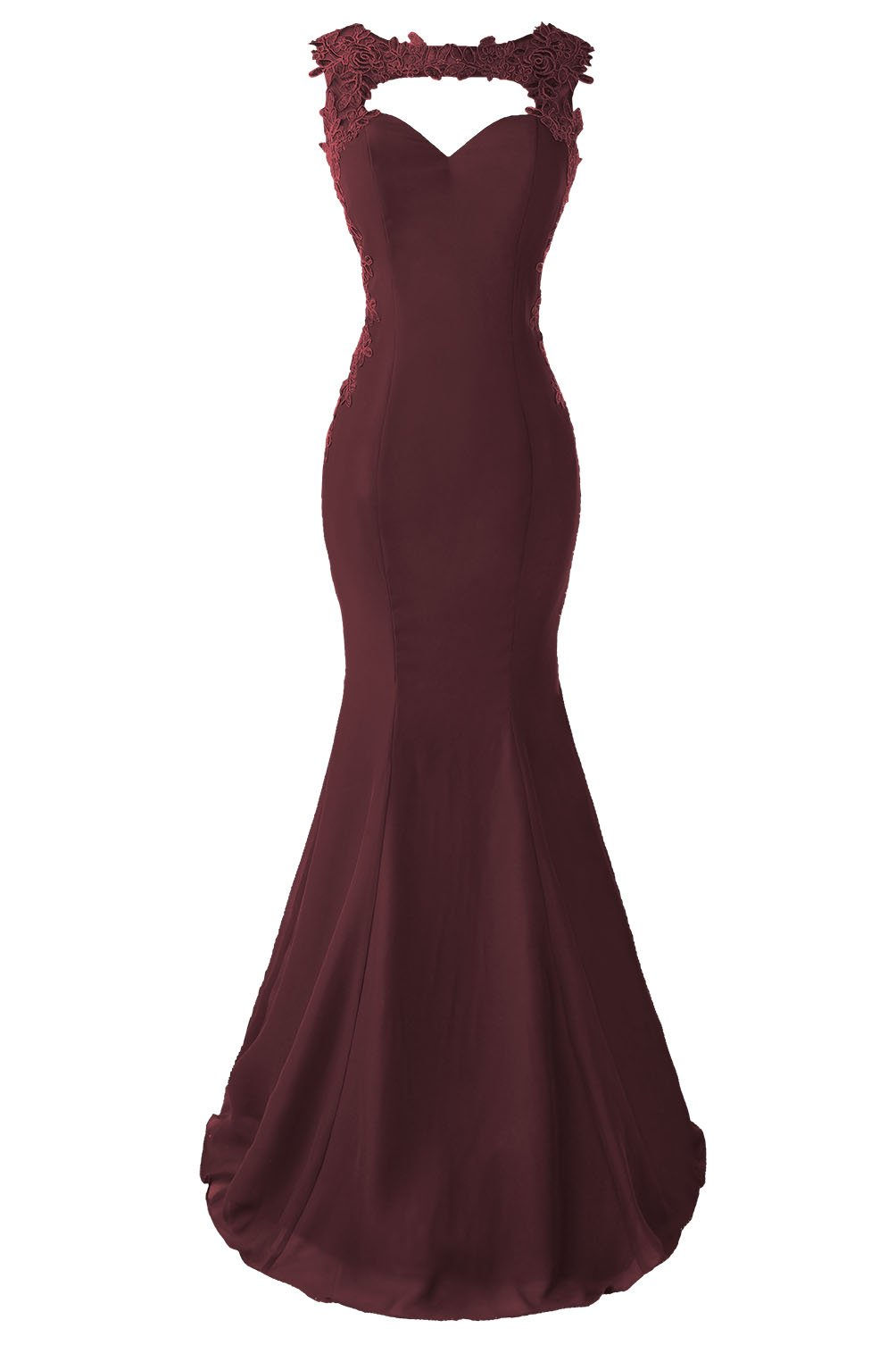 Topdress Women's Mermaid Prom Dress Lace Appliques Sheer Back Evening Gowns Burgundy US 20Plus