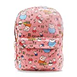 Finex Pink Peppa Pig Family Canvas Backpack with Laptop storage compartment for School College Daypack Causal Travel Bag
