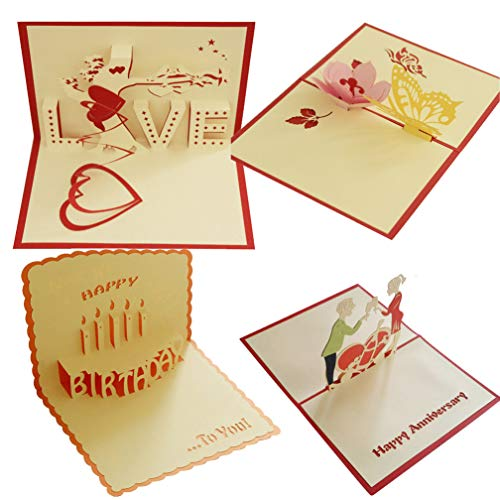 4 Pcs Pop Up Card 3D Paper Craft