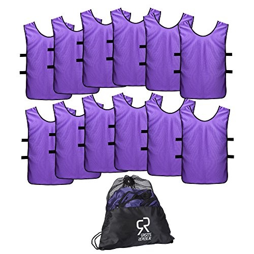Basketball Purple Kids (SportsRepublik Pinnies Scrimmage Vests for Kids, Youth and Adults (12-Pack) - Perfect as Basketball Team Practice Jersey, Football Jersey or Pennies for Soccer - Last Longer and Look Cooler)