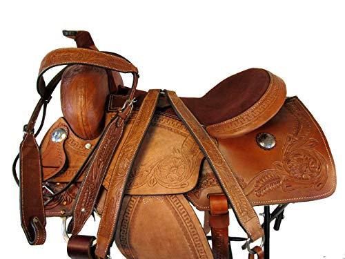 - 15 16 17 Western PRO Saddle Tooled Leather Pleasure Roper Ranch Roping TACK Set (16 Inch)