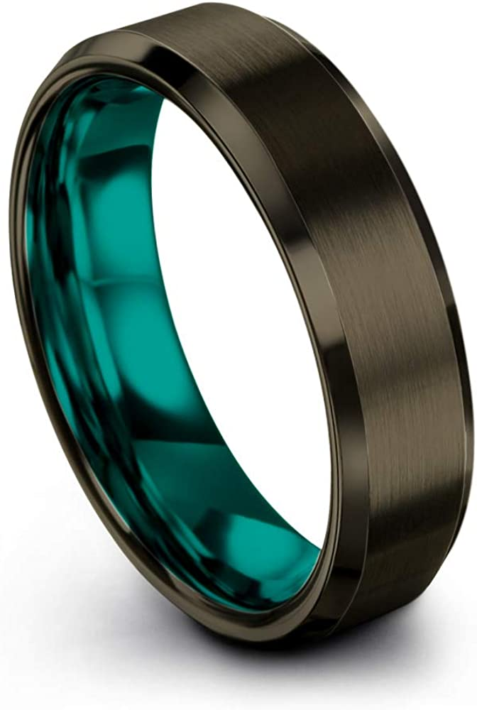 Chroma Color Collection Tungsten Carbide Wedding Band Ring 6mm for Men Women Green Red Blue Purple Black Gunmetal Copper Fuchsia Teal Interior with Beveled Edge Brushed Polished