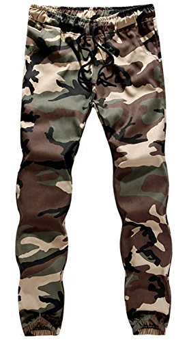 TBMPOY Men's Casual Camo Pants Slim Fit Camouflage Drawstring Cargo Trousers(Green camo,us S) (Camouflage Trouser)