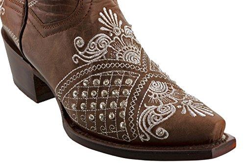 Cowboy Professionella Kvinna Brunt Marfil Strass Bröllop Cowboyboots Klipp Brun