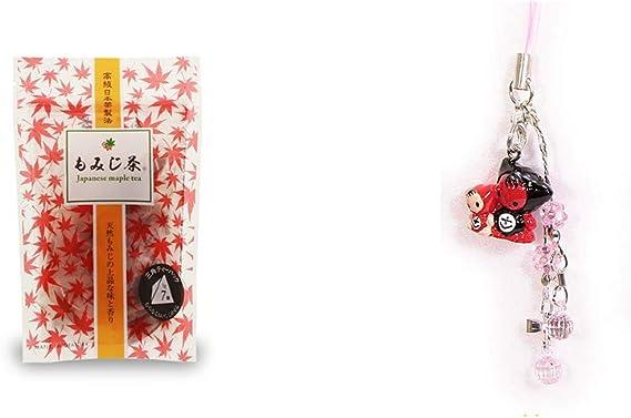 [2点セット] もみじ茶(7パック入)・さるぼぼペアビーズストラップ 【ピンク】/縁結び・魔除け//