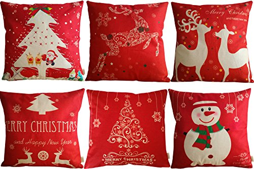 HOSL SD39 Merry Christmas Series Blend Linen Throw Pillow Case Decorative Cushion Cover Pillowcase Square 18