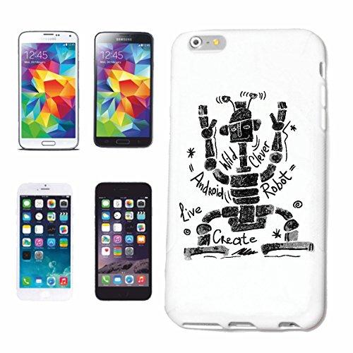 """cas de téléphone iPhone 7 """"ROBOT ANDROID FUNNY ROBOT biomécanique IOS ROBOTS CADEAU CADEAU D'ANNIVERSAIRE"""" Hard Case Cover Téléphone Covers Smart Cover pour Apple iPhone en blanc"""