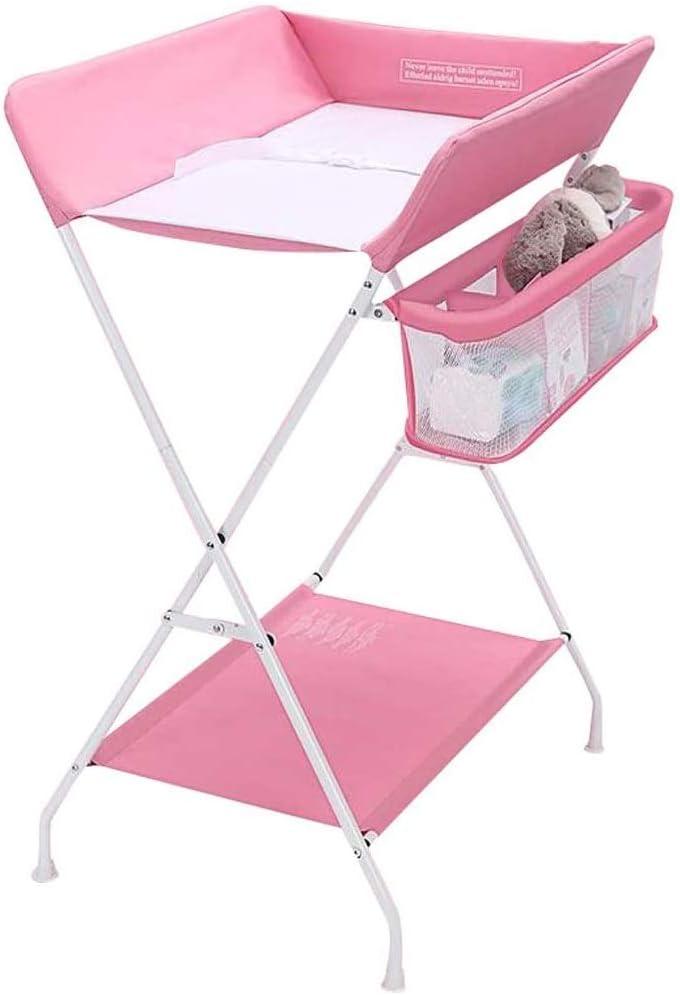 HIZLJJ 赤ちゃんは幼児多機能折りたたみ安全保育園ストレージ表折りたたみおむつ駅保育園主催の変更します (Color : Pink)