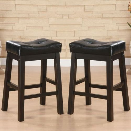 (Hadden Bicast Leather Tufted Saddle Counter Stools - 30