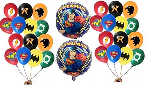 FAT CAT SALES 30 Superhero Party Balloon Bundle (30 Latex-7 different patterns & 2 Foil) Large 12