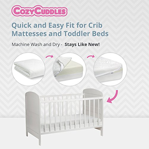 COZYCUDDLES Premium Zippered Quilted Waterproof Crib Protector & Cover Bedbugs Proof Fully Encasement Baby Crib Toddler