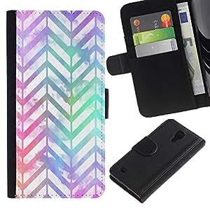 For Samsung Galaxy S4 IV I9500 Case , Pattern Iridescent Teal Purple - la tarjeta de Crédito Slots PU Funda de cuero Monedero caso cubierta de piel