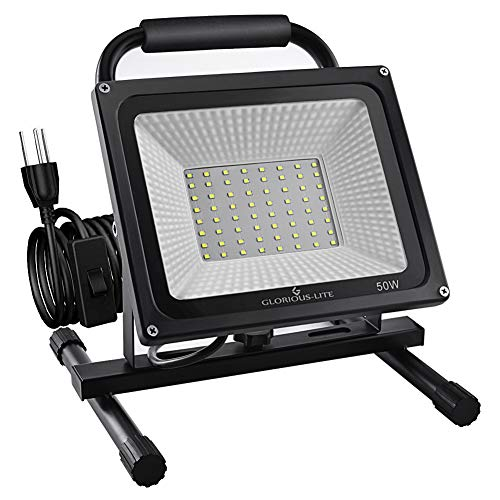GLORIOUS-LITE 50W LED Work Light Stand, 5000LM Super Bright Flood Work Light, 16ft/5M Cord with Plug, IP66 Waterproof Flood Lights, 6500K, Adjustable Angle Working Lights for Workshop, Garage