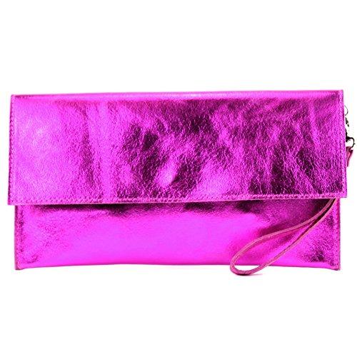 modamoda de - Made in Italy - Cartera de mano para mujer M151 Pink Metallic