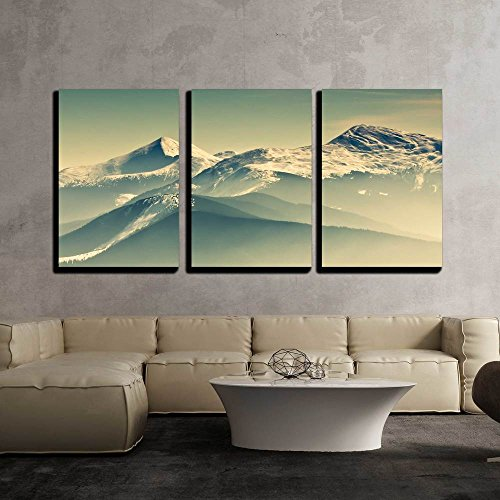 "Wall26 - 3 Piece Canvas Wall Art - Scenic View of the Winter Mountains - Modern Home Decor Stretched and Framed Ready to Hang - 16""x24\""x3 Panels"