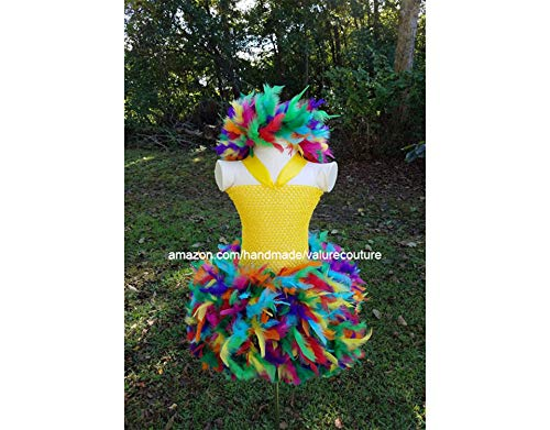 Rainbow Feather Inspired Tutu Dress Costume Pageant Birthday Halloween Girls Newborn Infant Toddler Baby Outfit Onesie Shirt Bow Party Princess Kids Gift Topper Favors ()