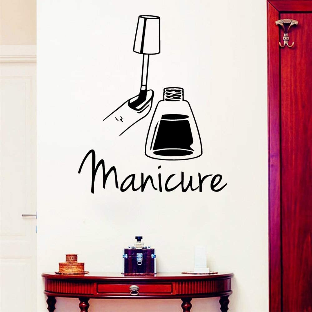pegatina de pared pegatina de pared 3d Pegatinas de salón de manicura personalizada Dormitorio para niñas Decoración para salón Tienda Pegatinas de bar: Amazon.es: Bricolaje y herramientas
