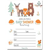 Baby Shower Invitations Boy Or Girl with Envelopes (15 Pack) - Gender Neutral - Fits Perfectly with Woodland Animals Baby Shower Decorations and Supplies