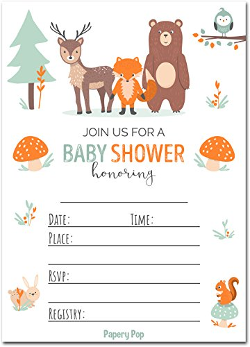 Papery Pop 30 Baby Shower Invitations for Boy or Girl with Envelopes (30 Pack) - Gender Neutral - Fits Perfectly with Woodland Animals Baby Shower Decorations and Supplies ()
