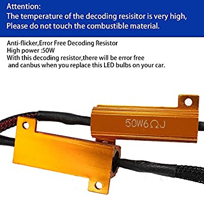YUNPICAR T20 7443 LED 50W 6Ohm Load Resistor Adapter Anti Hyper Flash Error Canceler 2PCS (T20 7443 Double Wires): Automotive