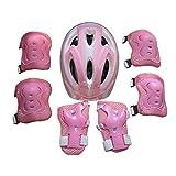 Icemaris Boy Girls Kid 7pcs Skating Bike Ski Protective Gear Safety Helmet Knee Elbow Pad Set (Pink)