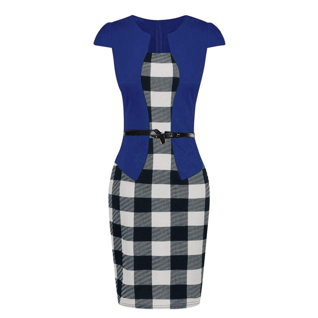 93 Shortsleeve,M /… Birdfly Office Womens Plaid Patchwork Pencil Skirts Formal Working Dress with Three Quarter Sleeve Plus Size 2L 3L Black