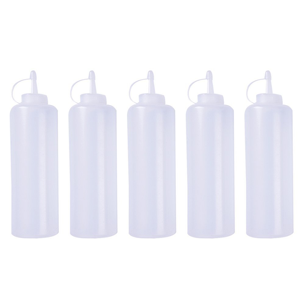 5pcs Squeeze Bottle, White Plastic Cruet Sauce Squeeze Dispenser with Cap, 5 Sizes Fulstarshop
