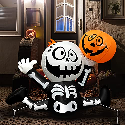 Yostyle 5 Ft Halloween Inflatables Skull Skeletons with Pumpkin Ghosts Built-in LED Lights with Tethers, Stakes for Outdoor Decor, Halloween Blow up Outdoor Party Decor for Yard Garden