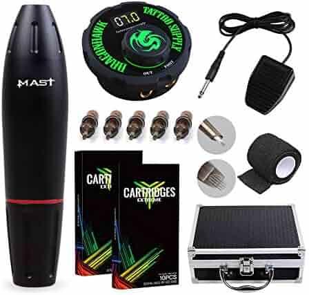 Dragonhawk Mast Pen Rotary Tattoo Machine Power Supply Extreme Cartridges Foot Pedal Gift Box 1013-10