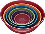 Gourmet Home Products 6 Piece Nested Polypropylene Mixing Bowl Set, Fire Red