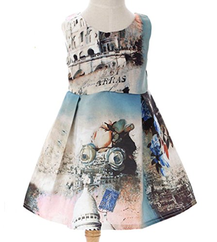 Kidscool Little Girls Vintage Sleeveless Autumn Abstract Painting Ball Gown dress - Wholesale Abstract Paintings