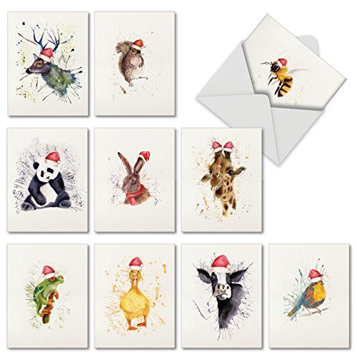 wildlife expressions holiday 10 assorted blank christmas greeting cards featuring watercolored animals with santa hats on splatter backgrounds with