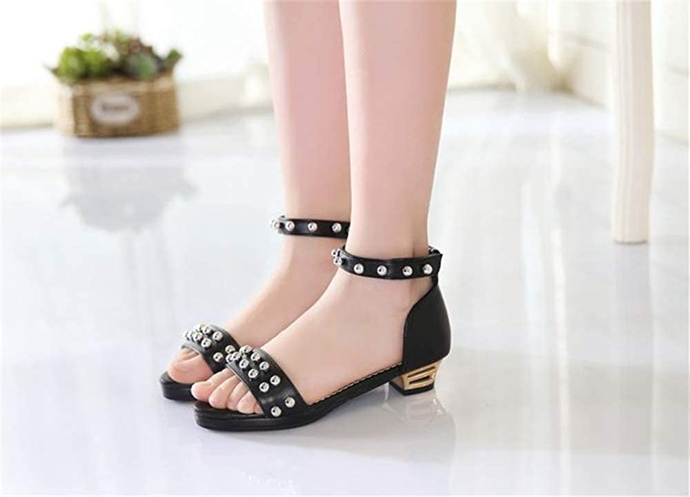 Girls Kids Rivet Studded Sandals Dress Ballet Flat//Kitten Heel Princess Shoes