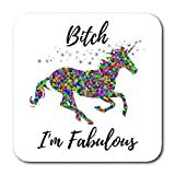 Funny Coasters For Drinks - Unicorn Design With Humorous Quote & Water Resistant Neoprene Backing - Best Home, Bar & Office Novelty Gift - Absorbent Woven Fabric With Flexible Foam Rubber Bottom (4)