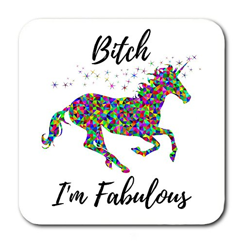 Neoprene Raft - Funny Coasters For Drinks - Unicorn Design With Humorous Quote & Water Resistant Neoprene Backing - Best Home, Bar & Office Novelty Gift - Absorbent Woven Fabric With Flexible Foam Rubber Bottom (6)